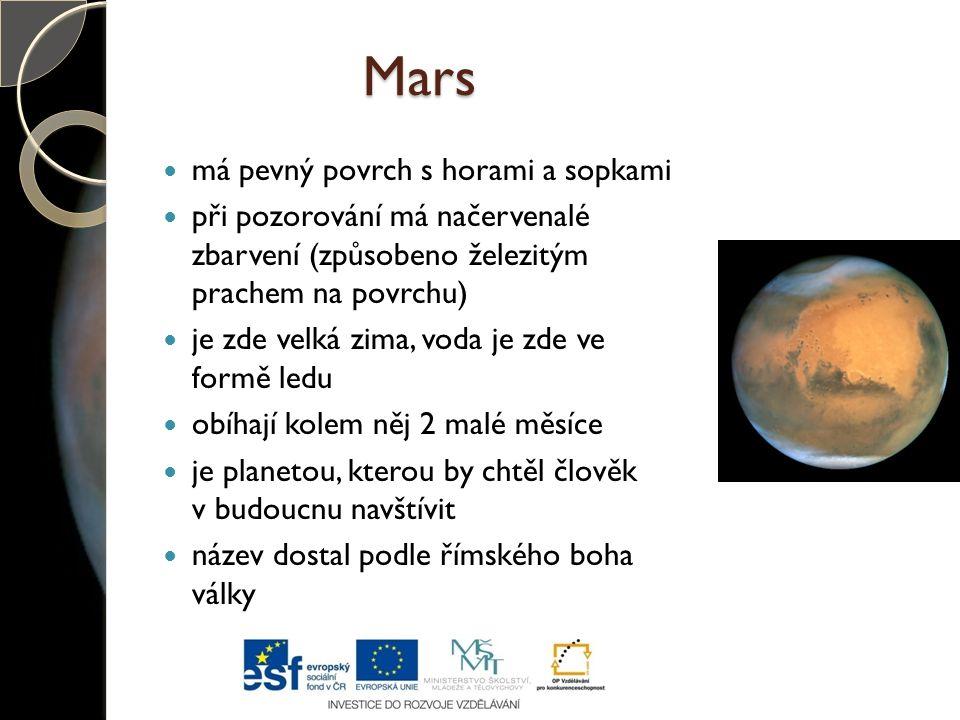 Mars má pevný povrch s horami a sopkami