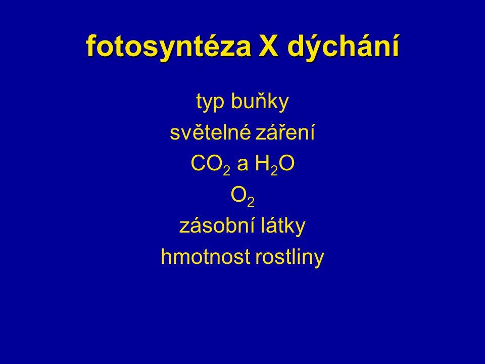 fotosyntéza X dýchání typ buňky světelné záření CO2 a H2O O2