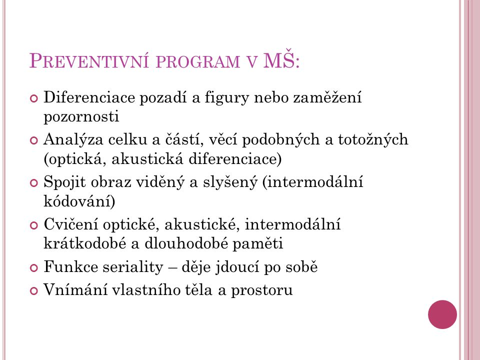 Preventivní program v MŠ: