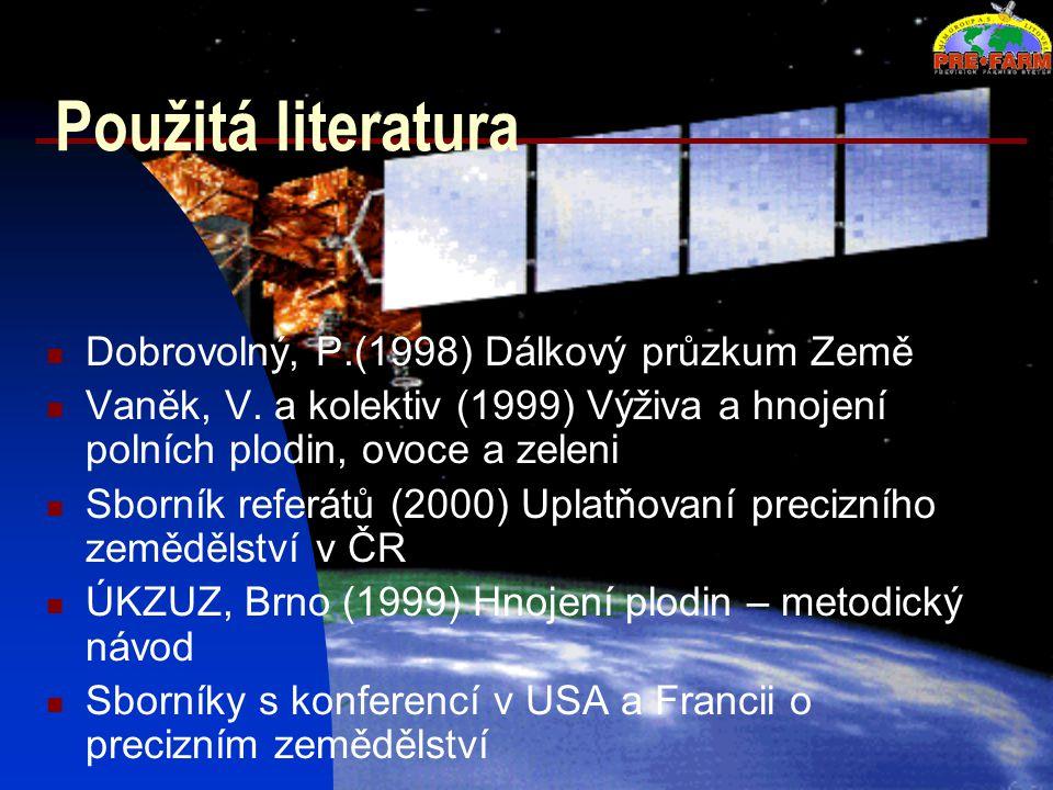 Použitá literatura Dobrovolný, P.(1998) Dálkový průzkum Země