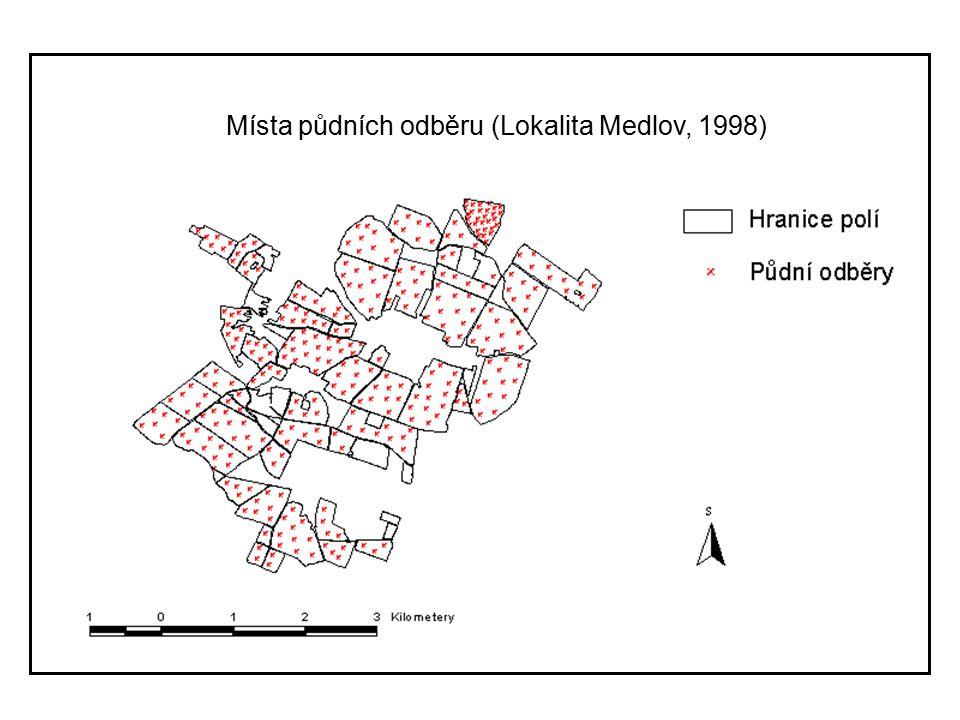Místa půdních odběru (Lokalita Medlov, 1998)