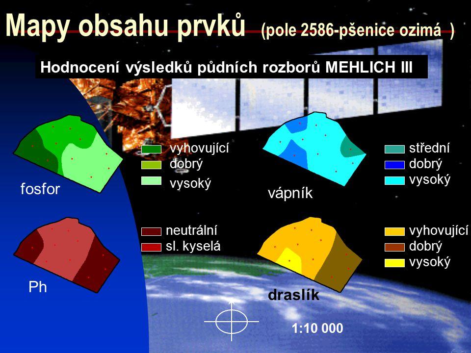Mapy obsahu prvků (pole 2586-pšenice ozimá )