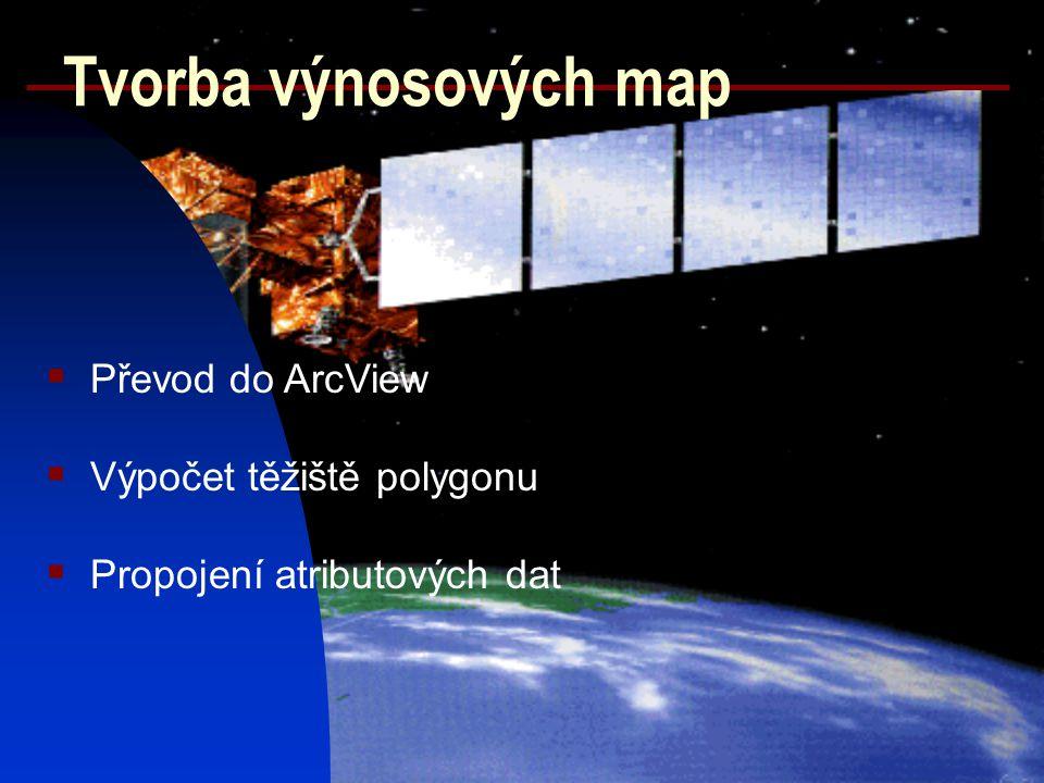 Tvorba výnosových map Převod do ArcView Výpočet těžiště polygonu