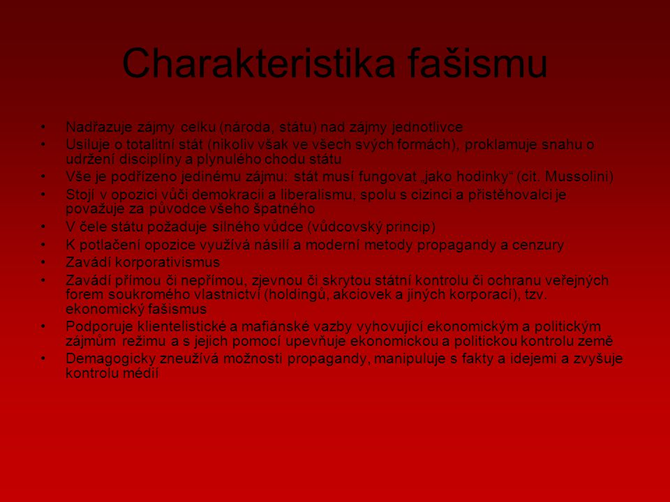 Charakteristika fašismu