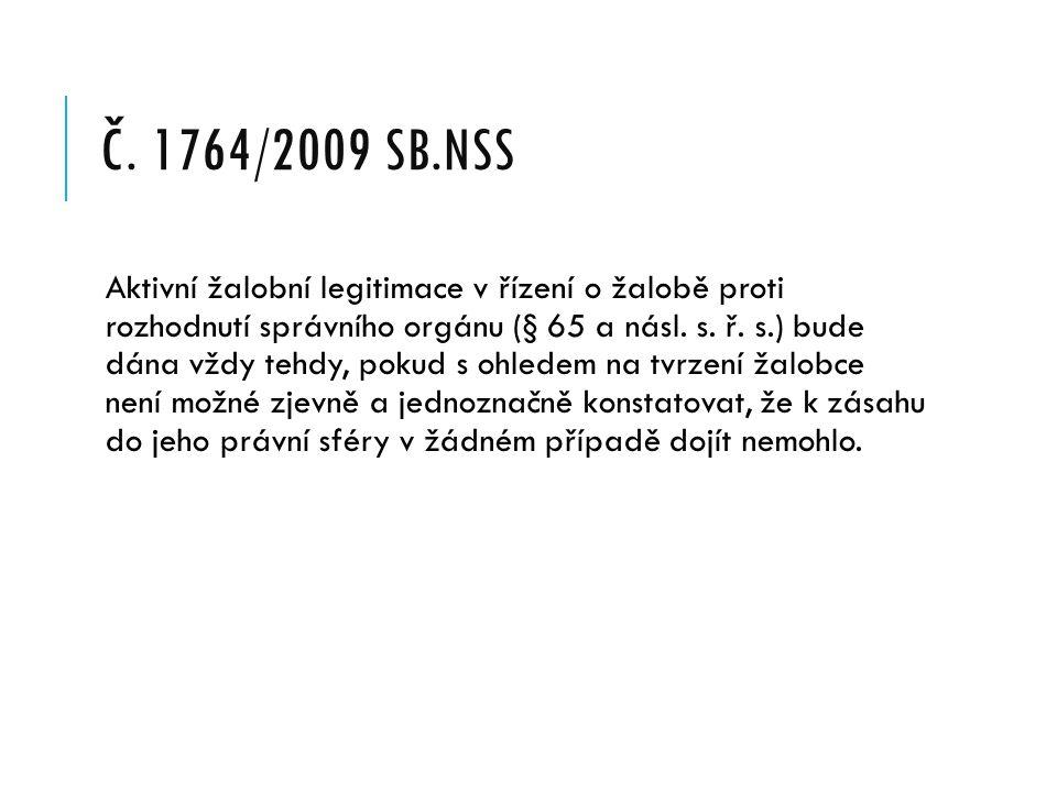 č. 1764/2009 Sb.NSS