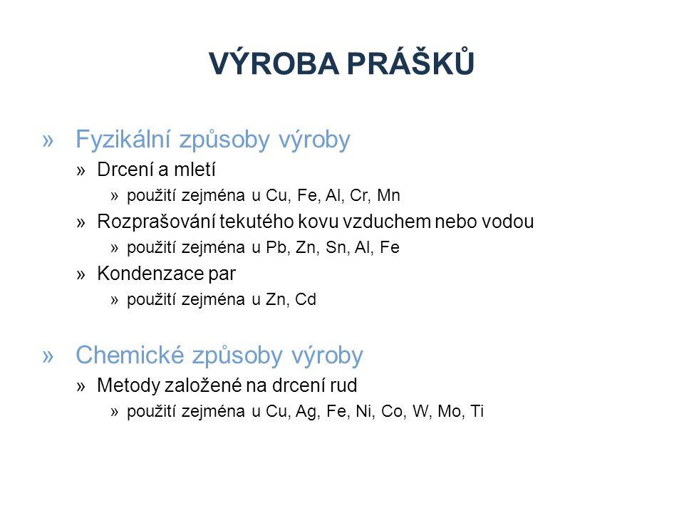 Výroba prášků Fyzikální způsoby výroby Chemické způsoby výroby