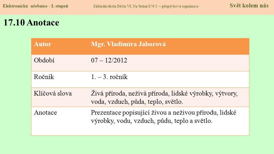 17.10 Anotace Autor Mgr. Vladimíra Jaborová Období 07 – 12/2012 Ročník