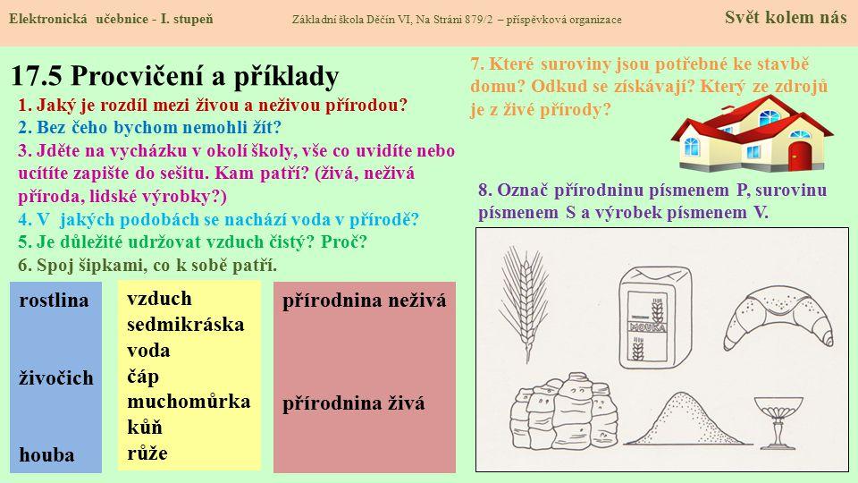 17.5 Procvičení a příklady rostlina živočich houba vzduch sedmikráska