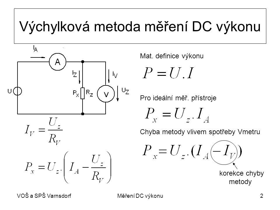 Výchylková metoda měření DC výkonu