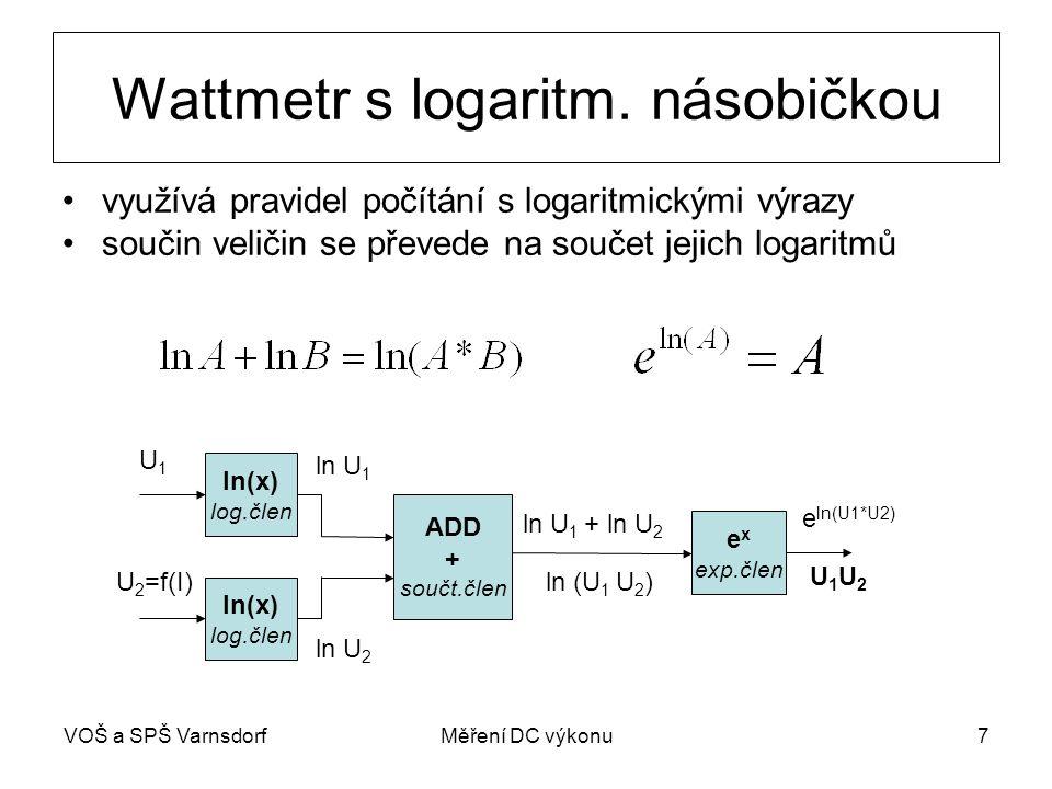Wattmetr s logaritm. násobičkou