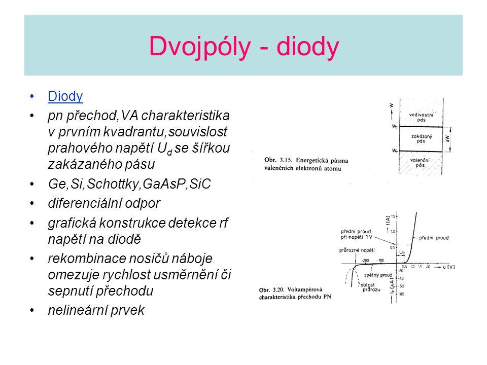 Dvojpóly - diody Diody. pn přechod,VA charakteristika v prvním kvadrantu,souvislost prahového napětí Ud se šířkou zakázaného pásu.