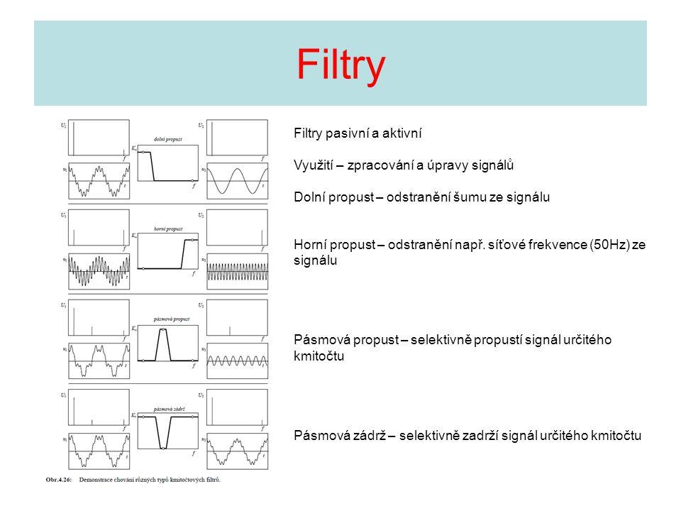 Filtry Filtry pasivní a aktivní Využití – zpracování a úpravy signálů