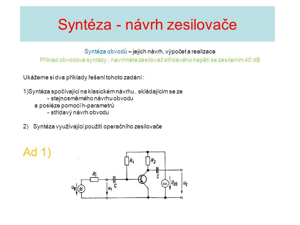 Syntéza - návrh zesilovače