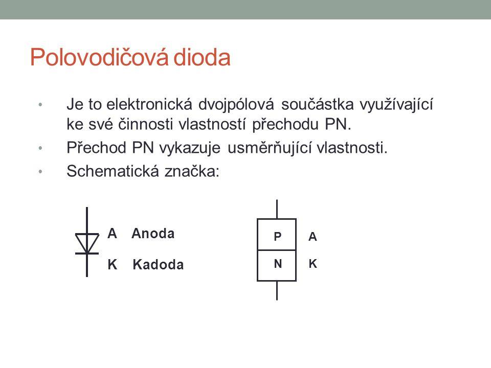 Polovodičová dioda Je to elektronická dvojpólová součástka využívající ke své činnosti vlastností přechodu PN.