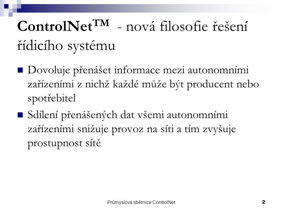 ControlNetTM - nová filosofie řešení řídicího systému
