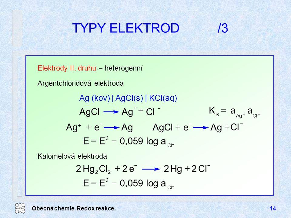 TYPY ELEKTROD /3 Ag AgCl + Cl = a K + e Ag Ag+ + e Ag AgCl Cl - = a