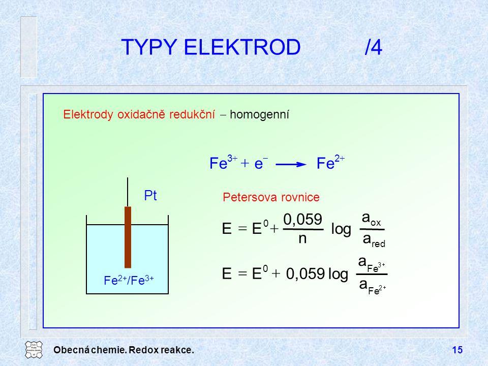 TYPY ELEKTROD /4 + Fe e + = a log n 0,059 E = a log 0,059 E Pt