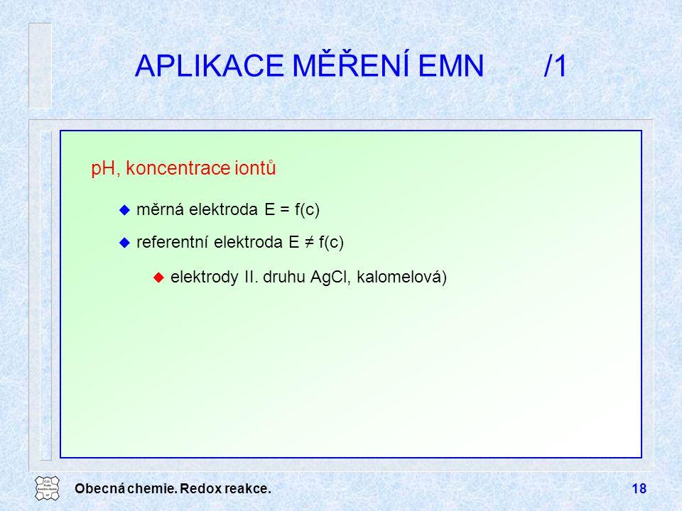 APLIKACE MĚŘENÍ EMN /1 pH, koncentrace iontů měrná elektroda E = f(c)