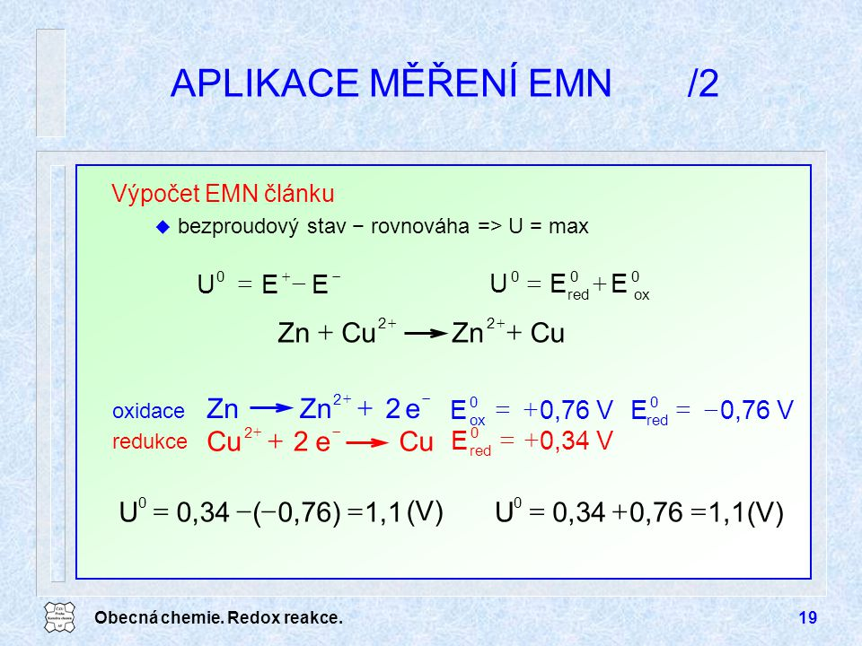 APLIKACE MĚŘENÍ EMN /2 Cu Zn + e 2 Zn + Cu 1,1 0,76) ( 0,34 U = - (V)