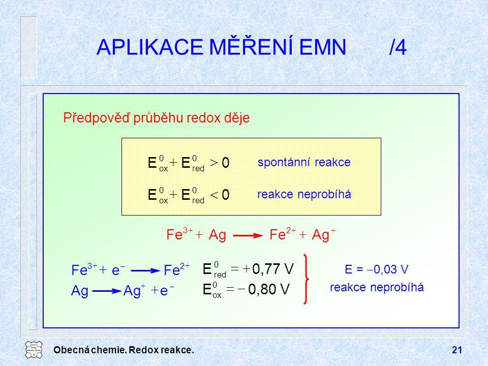 APLIKACE MĚŘENÍ EMN /4 E > + < V 0,77 E + = V 0,80 E - = Ag Fe