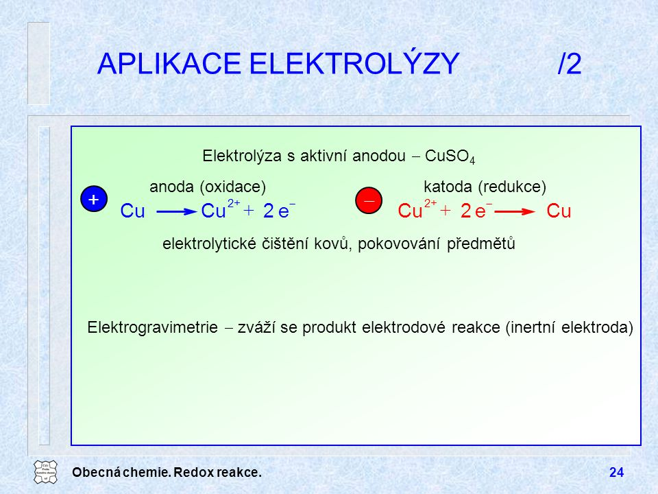 APLIKACE ELEKTROLÝZY /2
