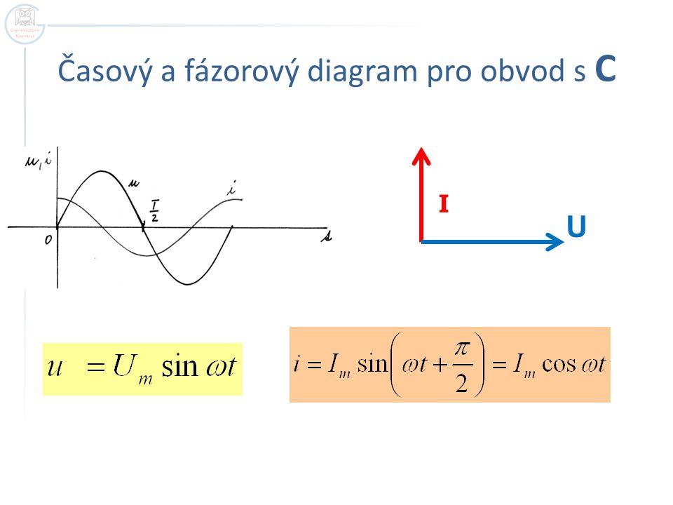 Časový a fázorový diagram pro obvod s C