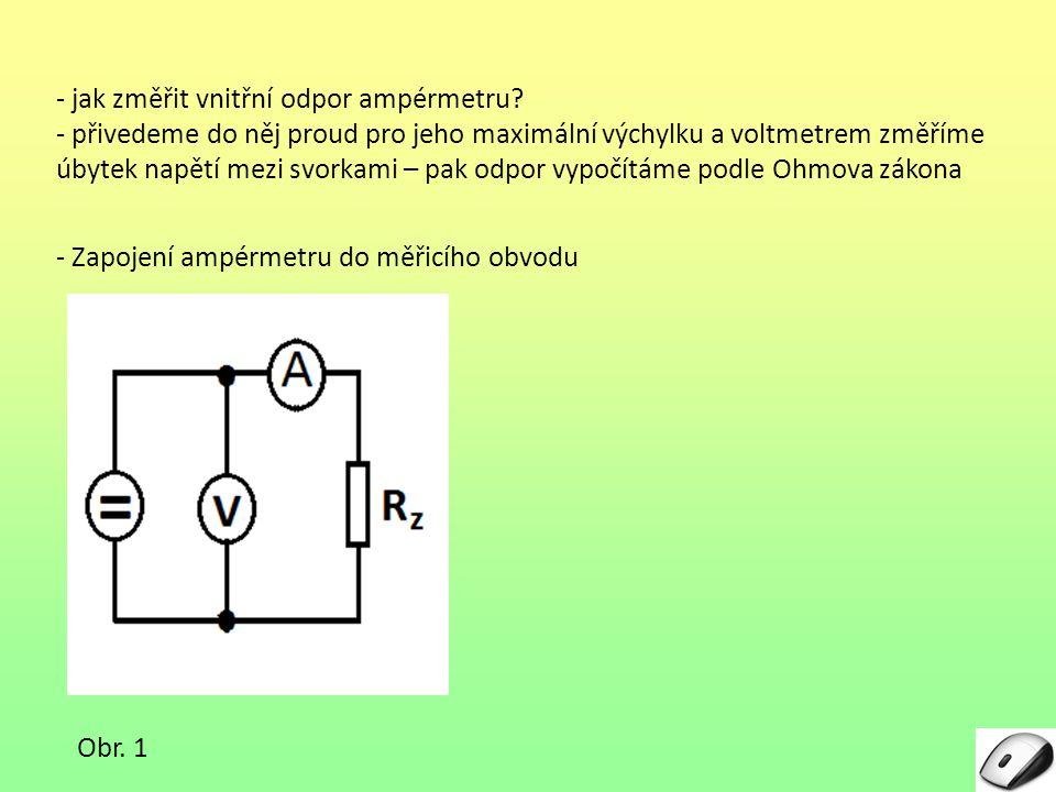 - jak změřit vnitřní odpor ampérmetru