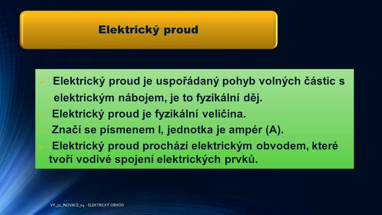 Elektrický proud je uspořádaný pohyb volných částic s