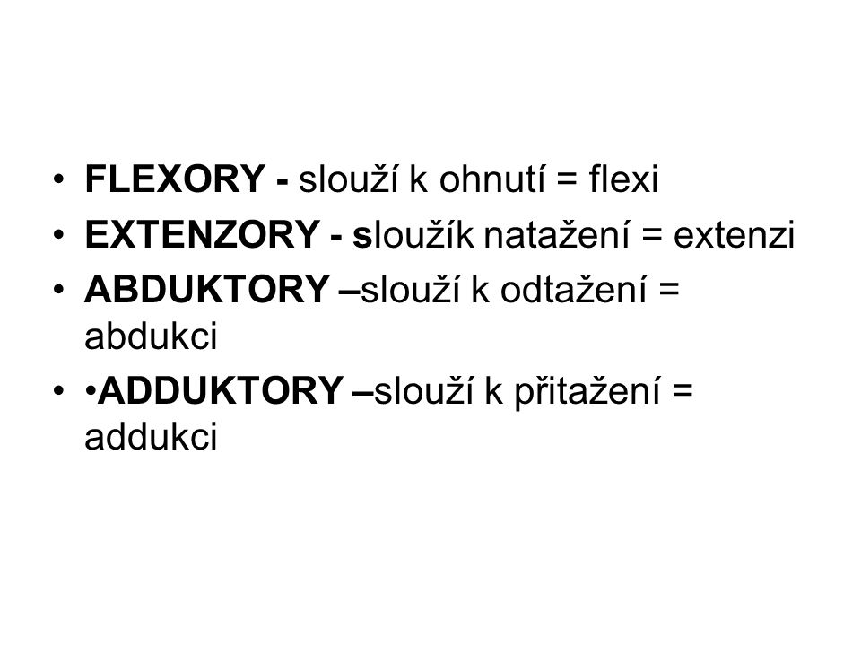 FLEXORY - slouží k ohnutí = flexi