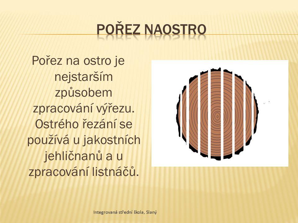 Pořez naostro Pořez na ostro je nejstarším způsobem zpracování výřezu. Ostrého řezání se používá u jakostních jehličnanů a u zpracování listnáčů.
