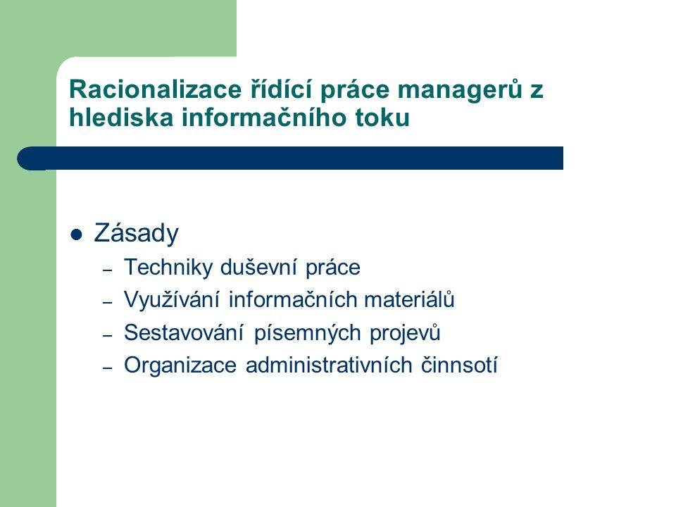 Racionalizace řídící práce managerů z hlediska informačního toku