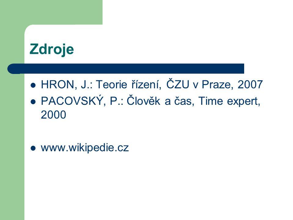 Zdroje HRON, J.: Teorie řízení, ČZU v Praze, 2007