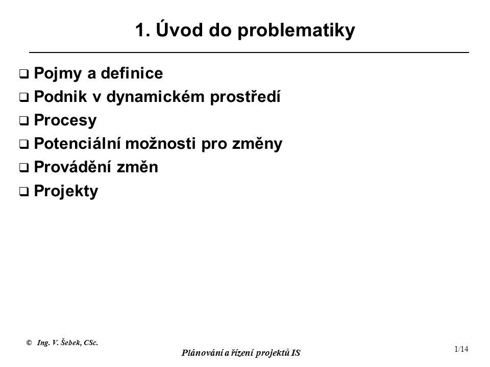 1. Úvod do problematiky Pojmy a definice Podnik v dynamickém prostředí