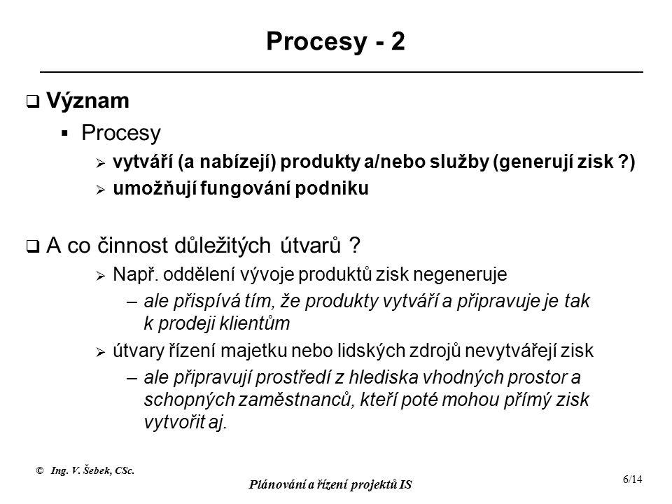 Procesy - 2 Význam Procesy A co činnost důležitých útvarů