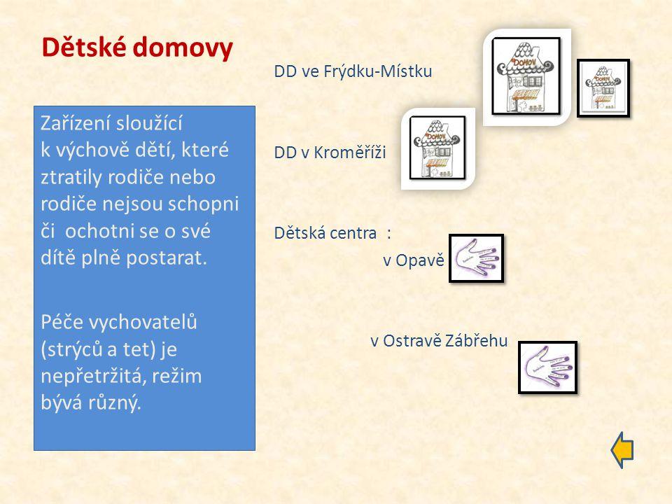 Dětské domovy DD ve Frýdku-Místku. DD v Kroměříži. Dětská centra : v Opavě. v Ostravě Zábřehu.