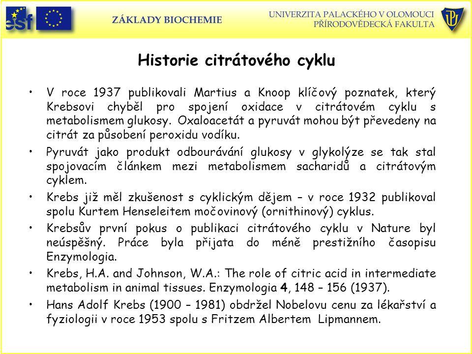 Historie citrátového cyklu