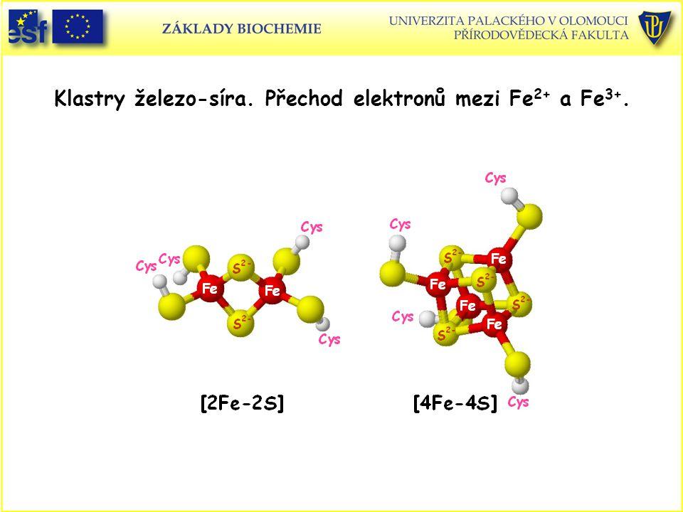 Klastry železo-síra. Přechod elektronů mezi Fe2+ a Fe3+.