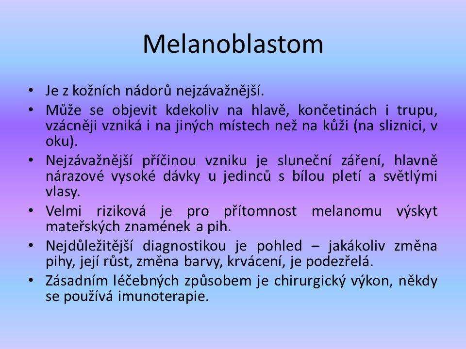 Melanoblastom Je z kožních nádorů nejzávažnější.