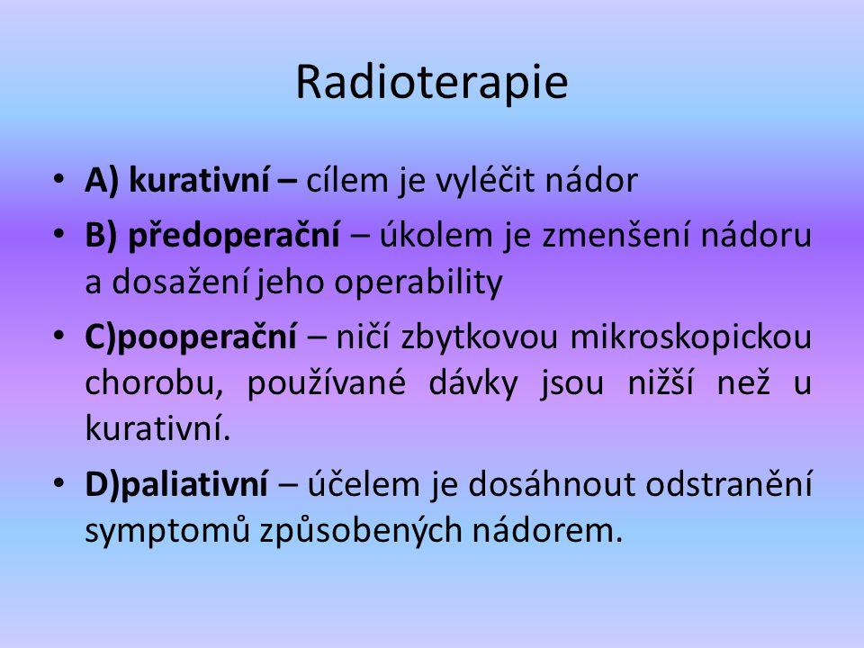 Radioterapie A) kurativní – cílem je vyléčit nádor