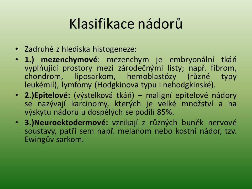 Klasifikace nádorů Zadruhé z hlediska histogeneze: