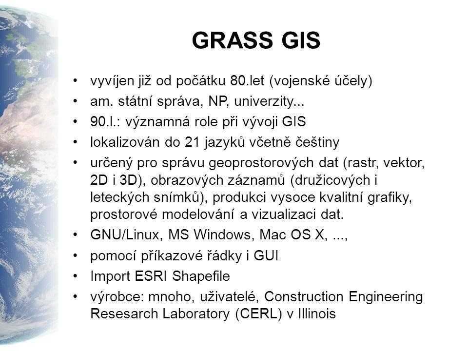 GRASS GIS vyvíjen již od počátku 80.let (vojenské účely)