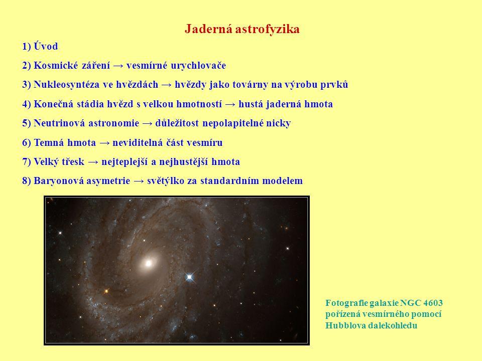 Jaderná astrofyzika 1) Úvod 2) Kosmické záření → vesmírné urychlovače