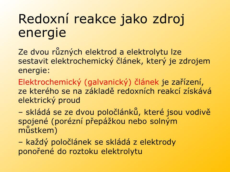 Redoxní reakce jako zdroj energie