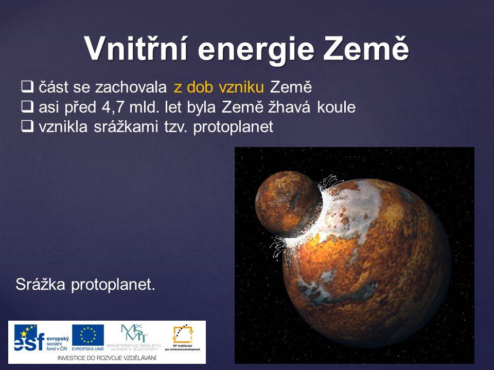 Vnitřní energie Země část se zachovala z dob vzniku Země