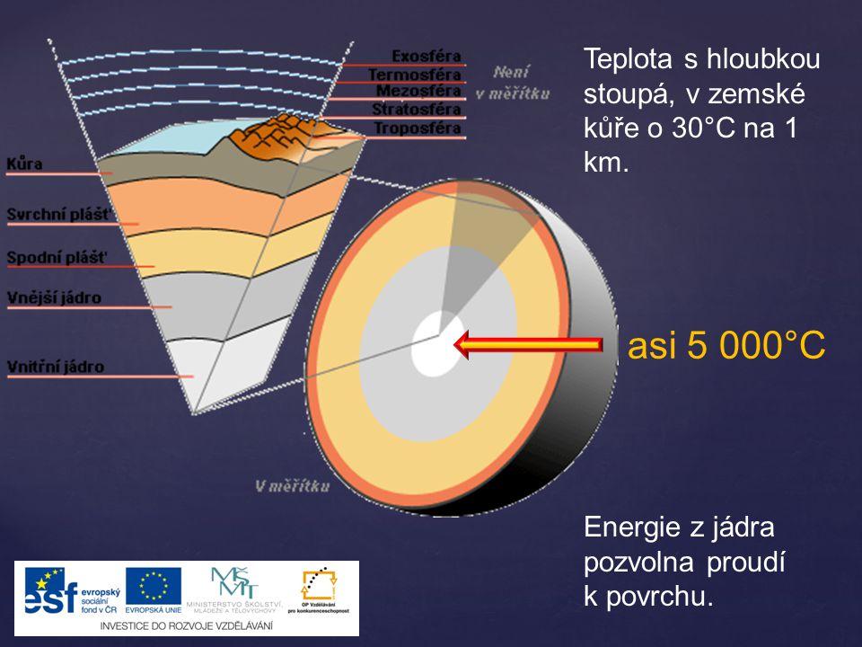 asi 5 000°C Teplota s hloubkou stoupá, v zemské kůře o 30°C na 1 km.