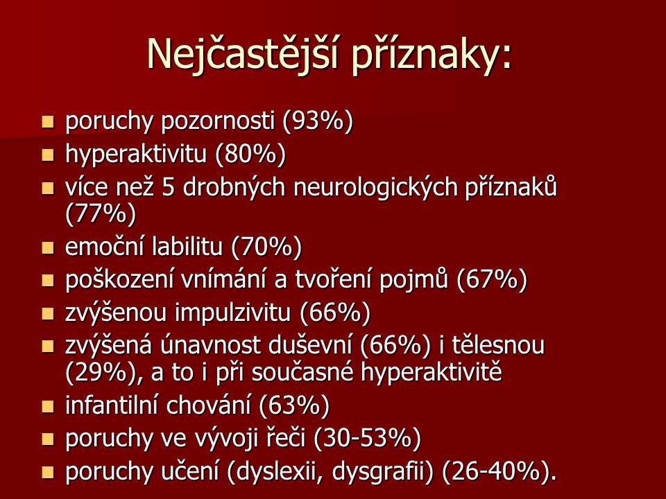 Nejčastější příznaky: