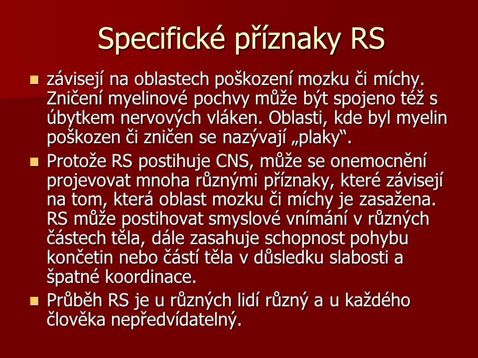 Specifické příznaky RS