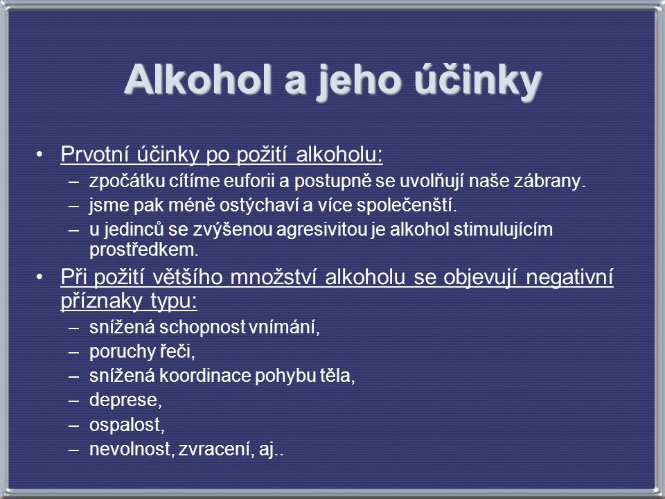 Alkohol a jeho účinky Prvotní účinky po požití alkoholu: