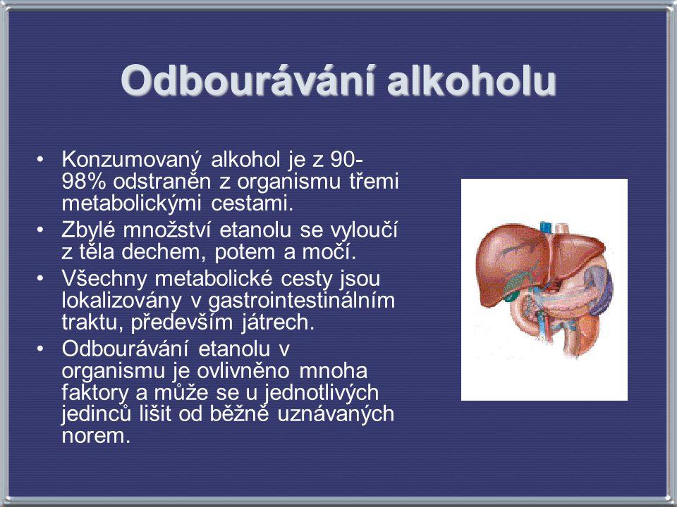 Odbourávání alkoholu Konzumovaný alkohol je z 90-98% odstraněn z organismu třemi metabolickými cestami.