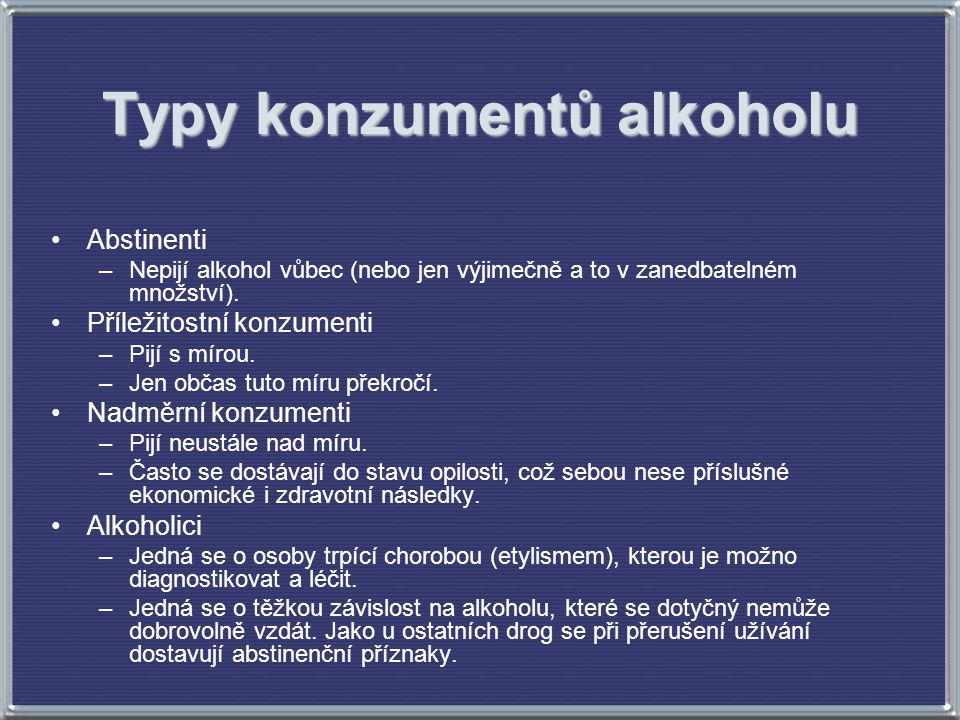 Typy konzumentů alkoholu